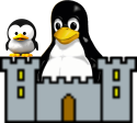 A tux (Linux-penguin) sitting in a castle